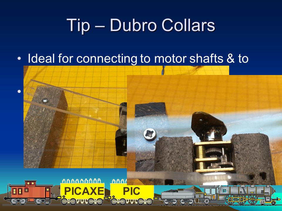 PICAXEPIC 89 Tip – Dubro Collars Ideal for connecting to motor shafts & to join piano wire for servos http://shop.dubro.com/c/aircraft_collars