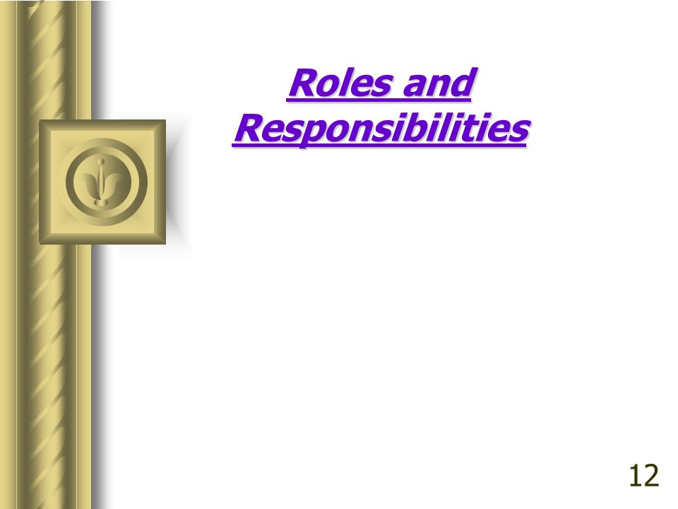 Roles and Responsibilities 12