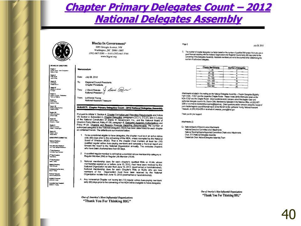 Chapter Primary Delegates Count – 2012 National Delegates Assembly 40