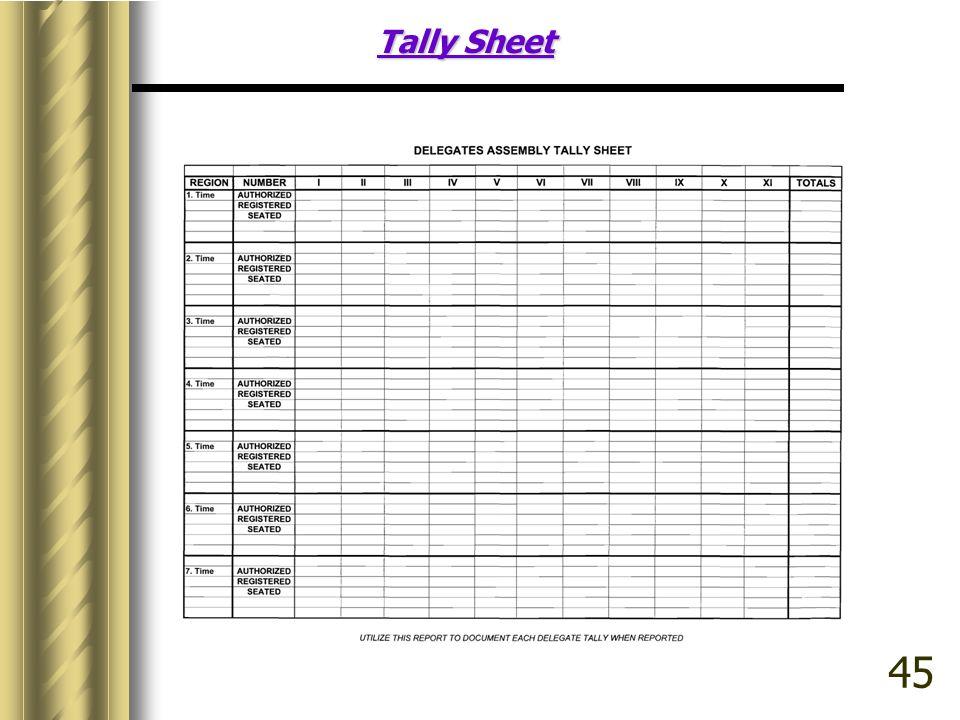 Tally Sheet 45