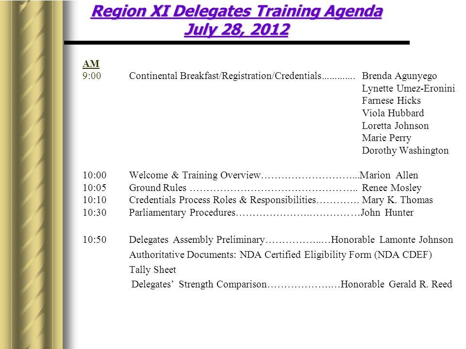 AM 9:00Continental Breakfast/Registration/Credentials.............Brenda Agunyego Lynette Umez-Eronini Farnese Hicks Viola Hubbard Loretta Johnson Marie Perry Dorothy Washington 10:00Welcome & Training Overview………………………...Marion Allen 10:05Ground Rules …………………………………………..Renee Mosley 10:10Credentials Process Roles & Responsibilities………….Mary K.