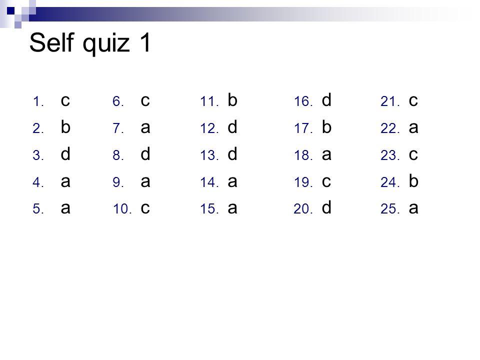 Self quiz 1 1. c 2. b 3. d 4. a 5. a 6. c 7. a 8. d 9. a 10. c 11. b 12. d 13. d 14. a 15. a 16. d 17. b 18. a 19. c 20. d 21. c 22. a 23. c 24. b 25.