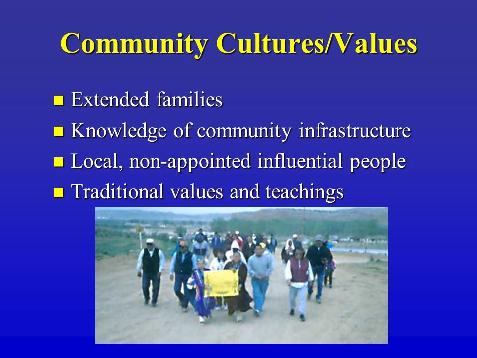 Community Cultures/Values Extended families Extended families Knowledge of community infrastructure Knowledge of community infrastructure Local, non-a