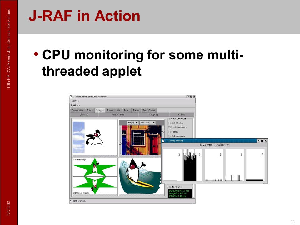 7/7/2003 10th HP-OVUA workshop, Geneva, Switzerland 11 J-RAF in Action CPU monitoring for some multi- threaded applet