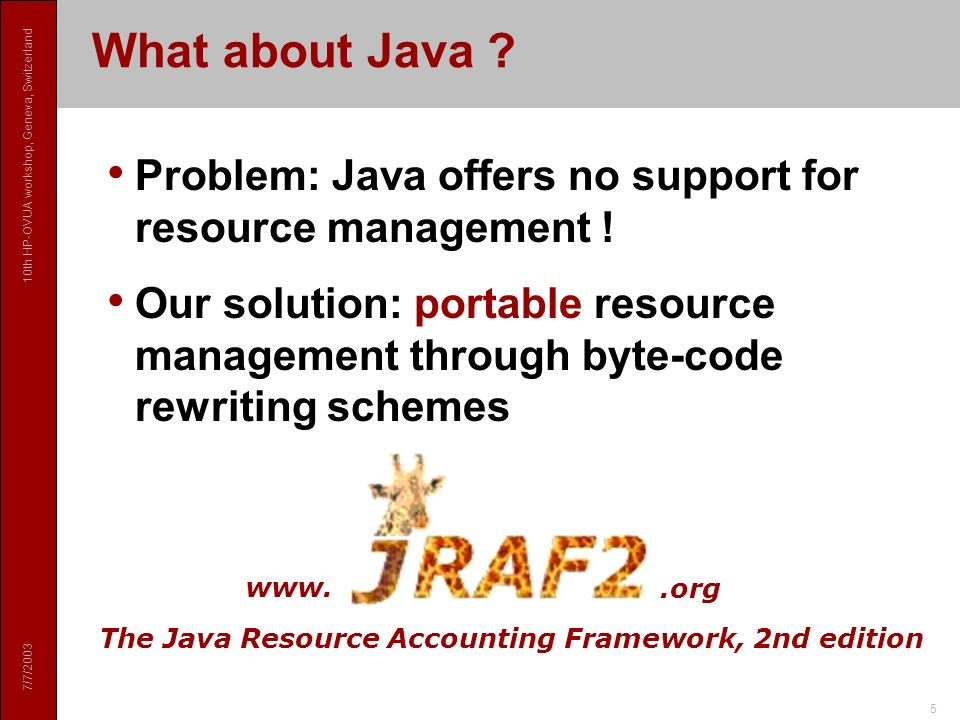 7/7/2003 10th HP-OVUA workshop, Geneva, Switzerland 5 What about Java .