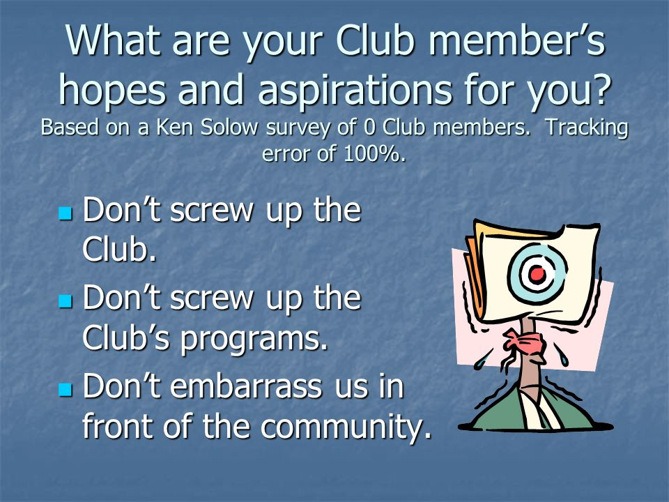 What are your Club members hopes and aspirations for you? Based on a Ken Solow survey of 0 Club members. Tracking error of 100%. Dont screw up the Clu