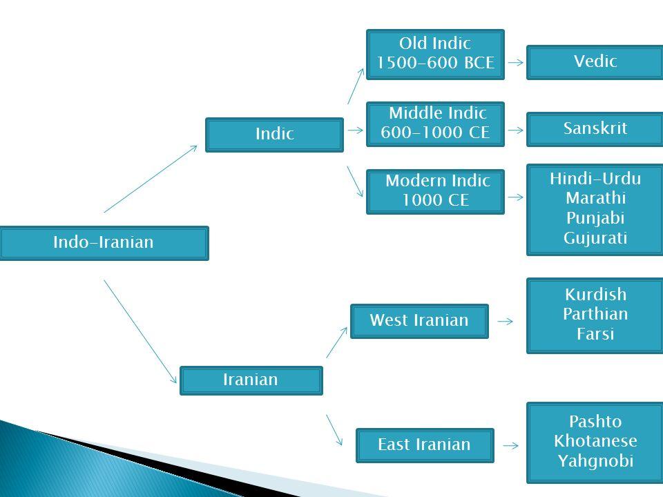 Indo-Iranian Indic Iranian Modern Indic 1000 CE Sanskrit Middle Indic 600-1000 CE Vedic Old Indic 1500-600 BCE Hindi-Urdu Marathi Punjabi Gujurati Pashto Khotanese Yahgnobi East Iranian West Iranian Kurdish Parthian Farsi