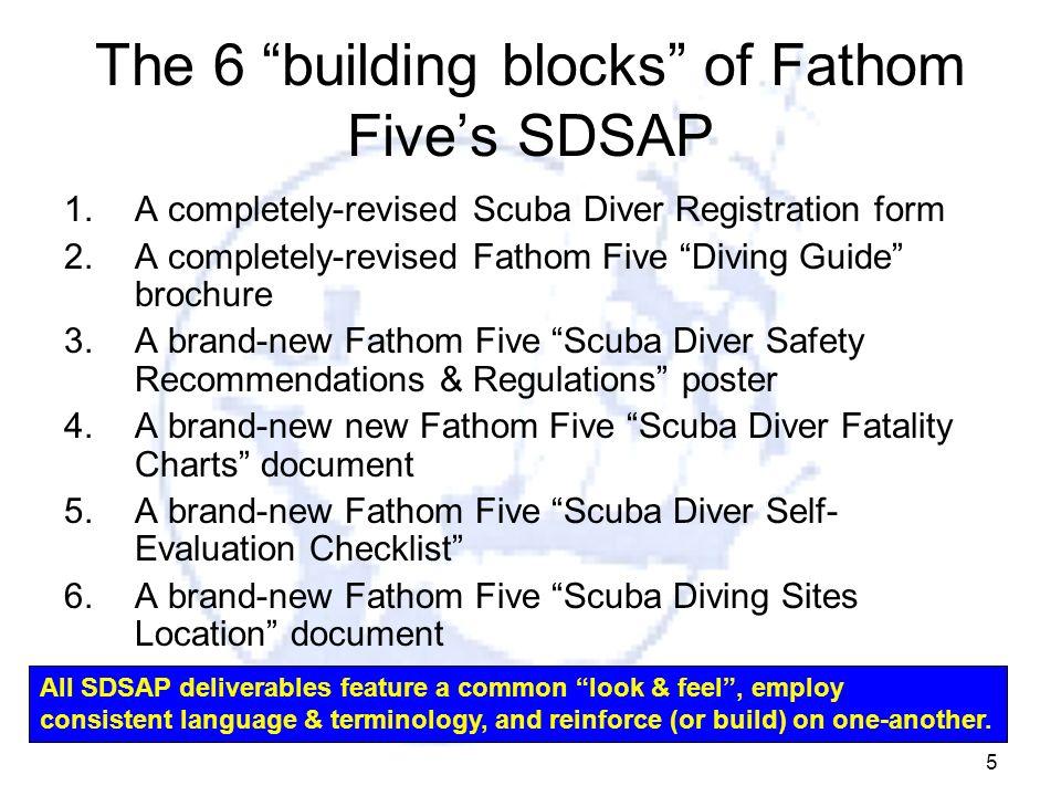 5 The 6 building blocks of Fathom Fives SDSAP 1.A completely-revised Scuba Diver Registration form 2.A completely-revised Fathom Five Diving Guide bro