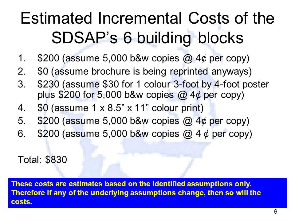 6 Estimated Incremental Costs of the SDSAPs 6 building blocks 1.$200 (assume 5,000 b&w copies @ 4¢ per copy) 2.$0 (assume brochure is being reprinted