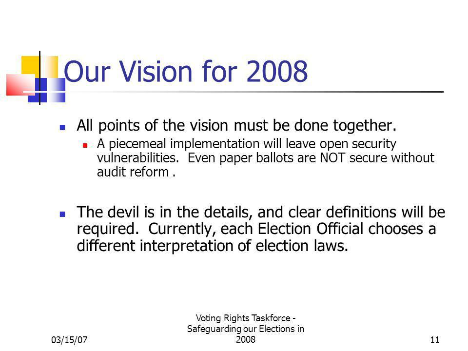 03/15/07 Voting Rights Taskforce - Safeguarding our Elections in 200811 Our Vision for 2008 All points of the vision must be done together. A piecemea