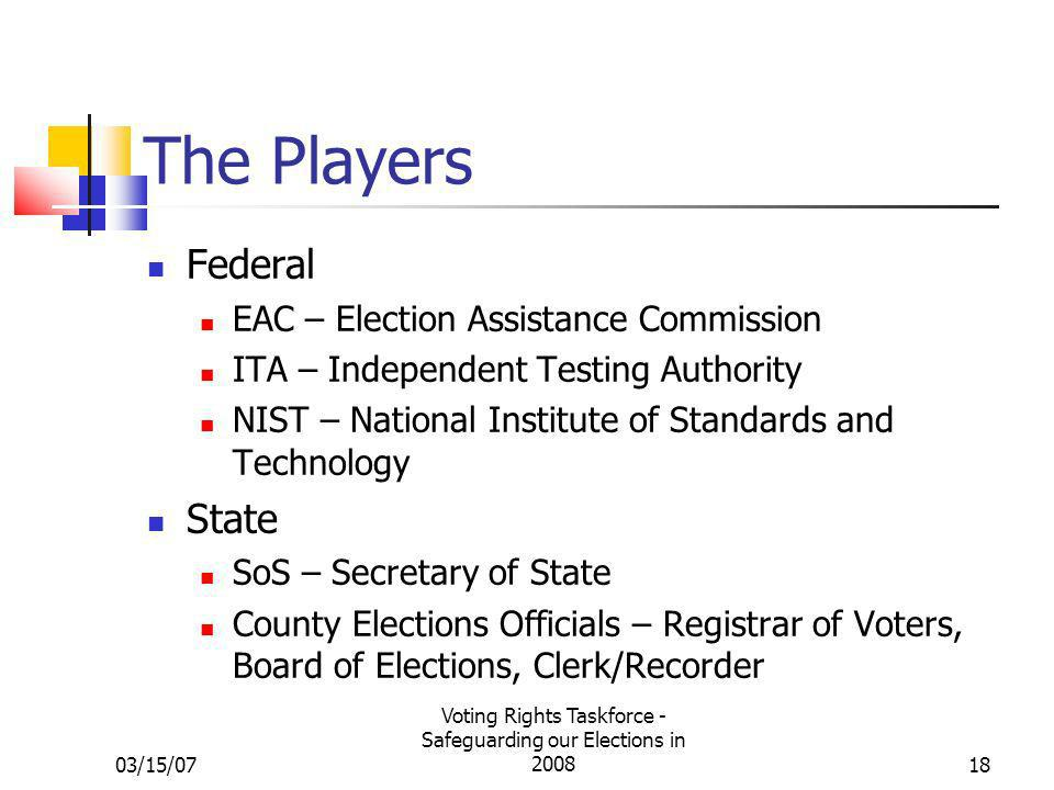 03/15/07 Voting Rights Taskforce - Safeguarding our Elections in 200818 The Players Federal EAC – Election Assistance Commission ITA – Independent Testing Authority NIST – National Institute of Standards and Technology State SoS – Secretary of State County Elections Officials – Registrar of Voters, Board of Elections, Clerk/Recorder