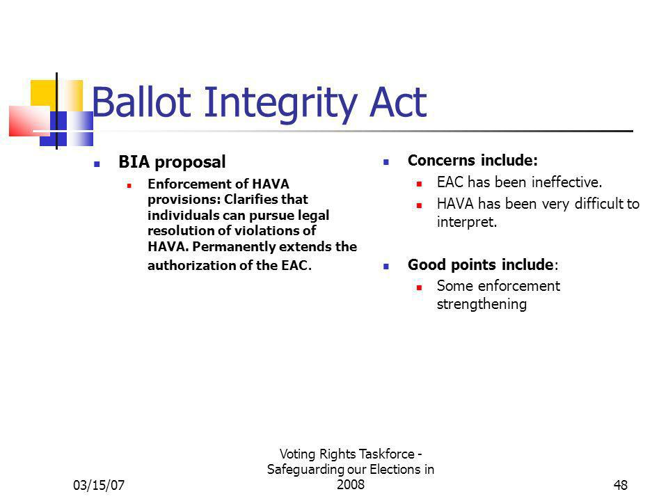 03/15/07 Voting Rights Taskforce - Safeguarding our Elections in 200848 Ballot Integrity Act BIA proposal Enforcement of HAVA provisions: Clarifies th
