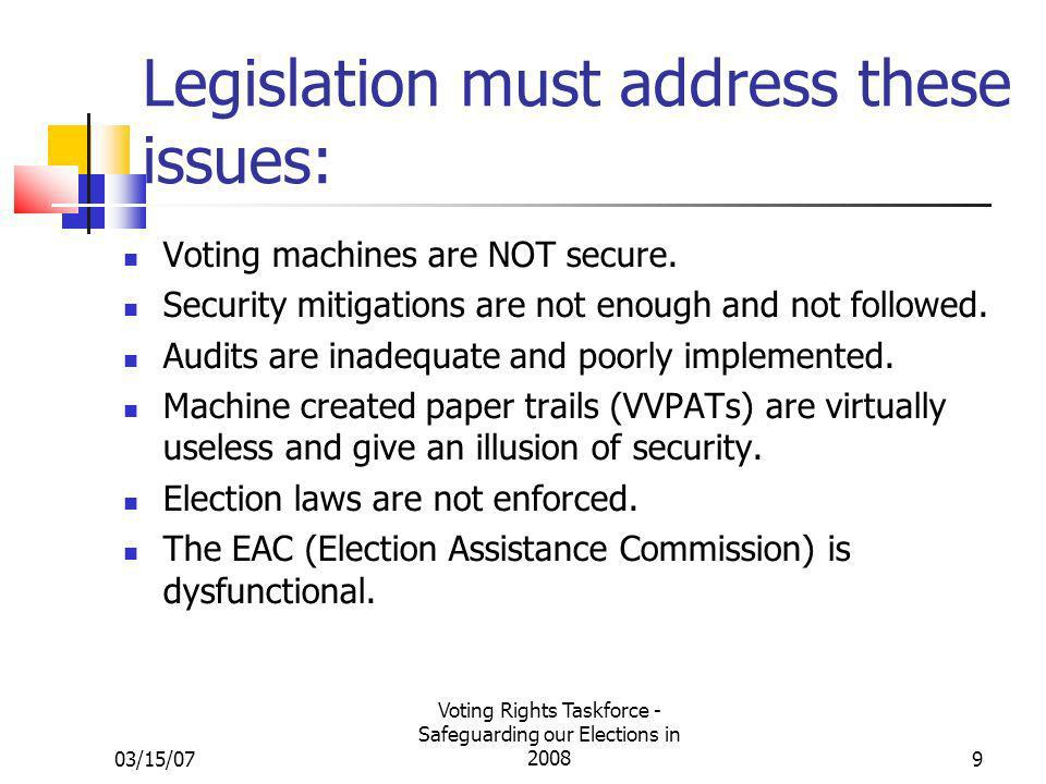 03/15/07 Voting Rights Taskforce - Safeguarding our Elections in 20089 Legislation must address these issues: Voting machines are NOT secure. Security