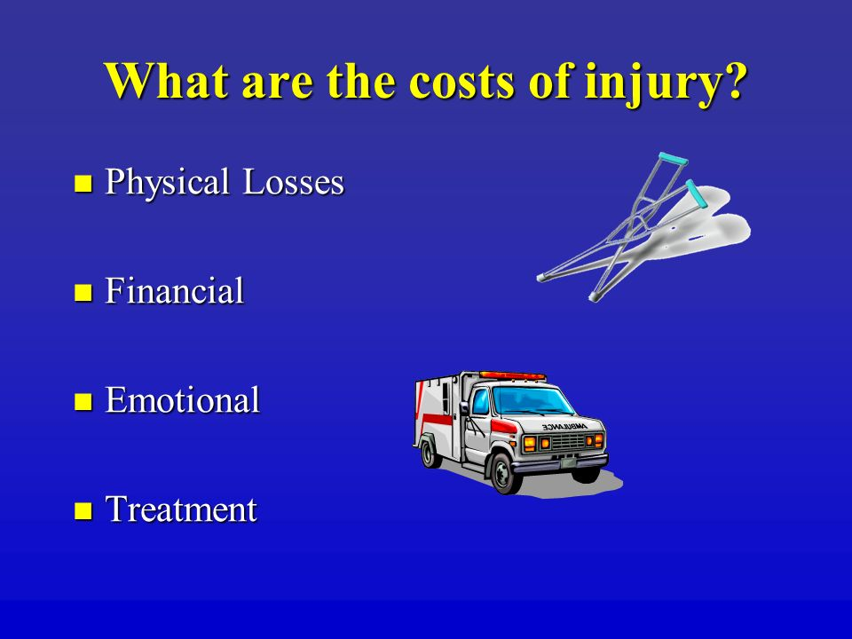 What are the costs of injury.