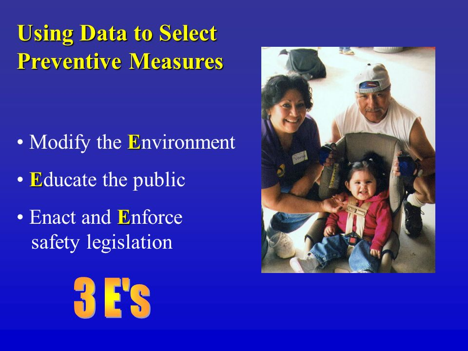 Using Data to Select Preventive Measures E Modify the Environment E Educate the public E Enact and Enforce safety legislation
