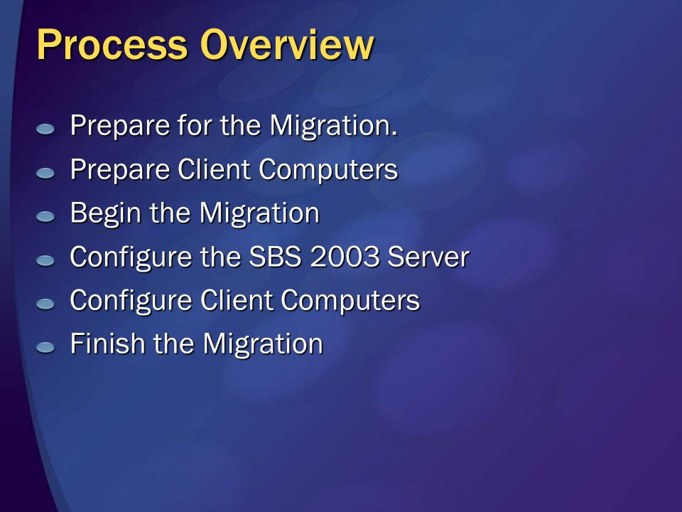 Process Overview Prepare for the Migration.