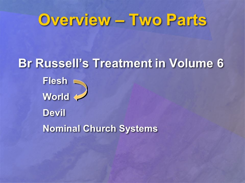 Overview – Two Parts Br Russells Treatment in Volume 6