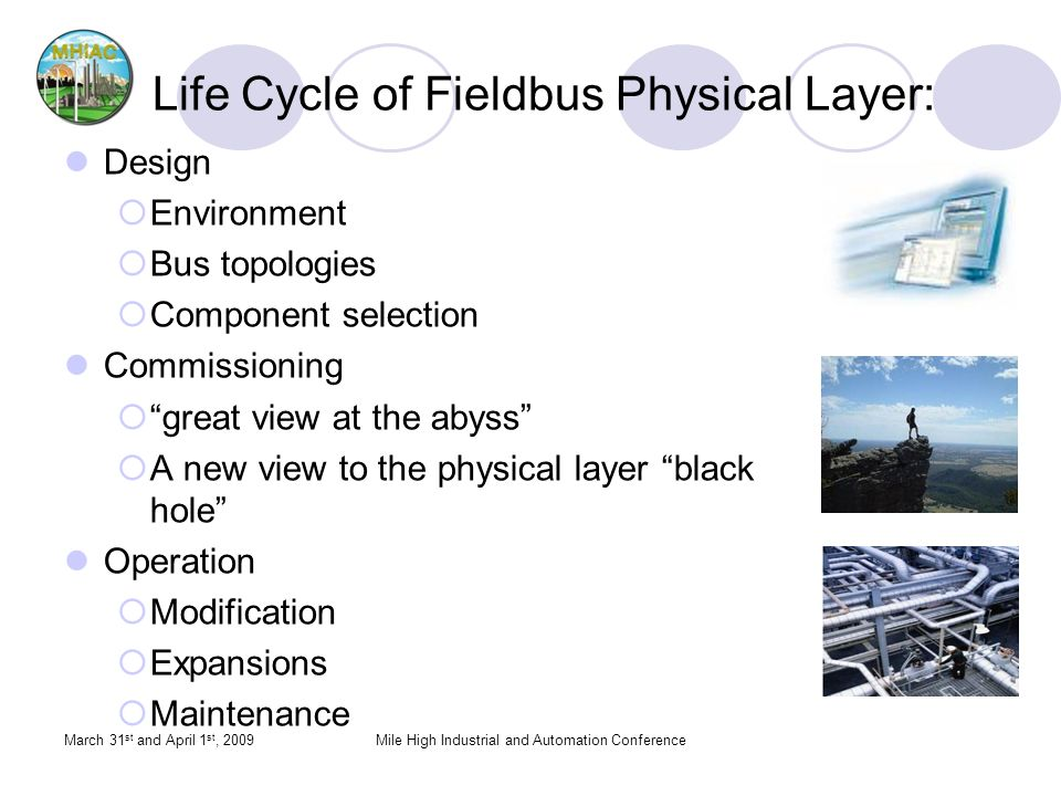 Life Cycle of Fieldbus Physical Layer: Design Environment Bus topologies Component selection Commissioning great view at the abyss A new view to the physical layer black hole Operation Modification Expansions Maintenance March 31 st and April 1 st, 2009Mile High Industrial and Automation Conference