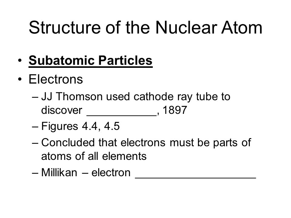 Structure of the Nuclear Atom Subatomic Particles Electrons –JJ Thomson used cathode ray tube to discover ___________, 1897 –Figures 4.4, 4.5 –Conclud