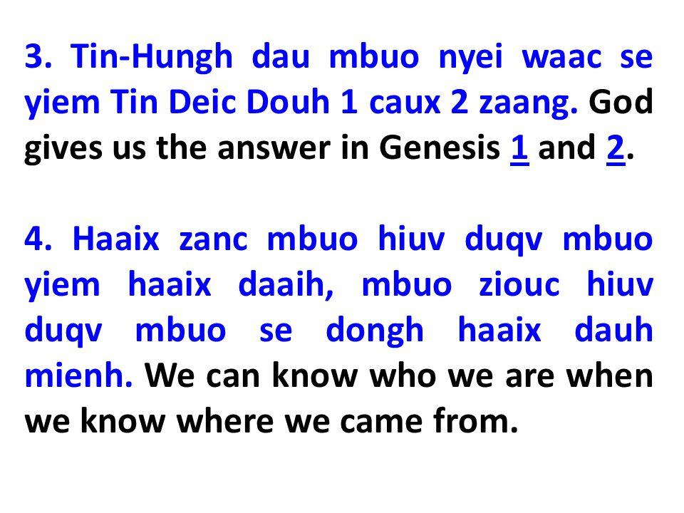 2.Mbuo se ziux Tin-Hungh nyei fangx zeiv zeix daaih nyei mienh (We are created in His image).