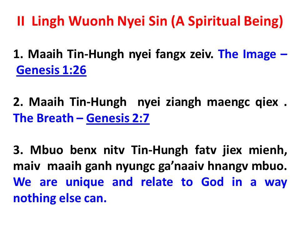 II Lingh Wuonh Nyei Sin (A Spiritual Being) 1. Maaih Tin-Hungh nyei fangx zeiv.