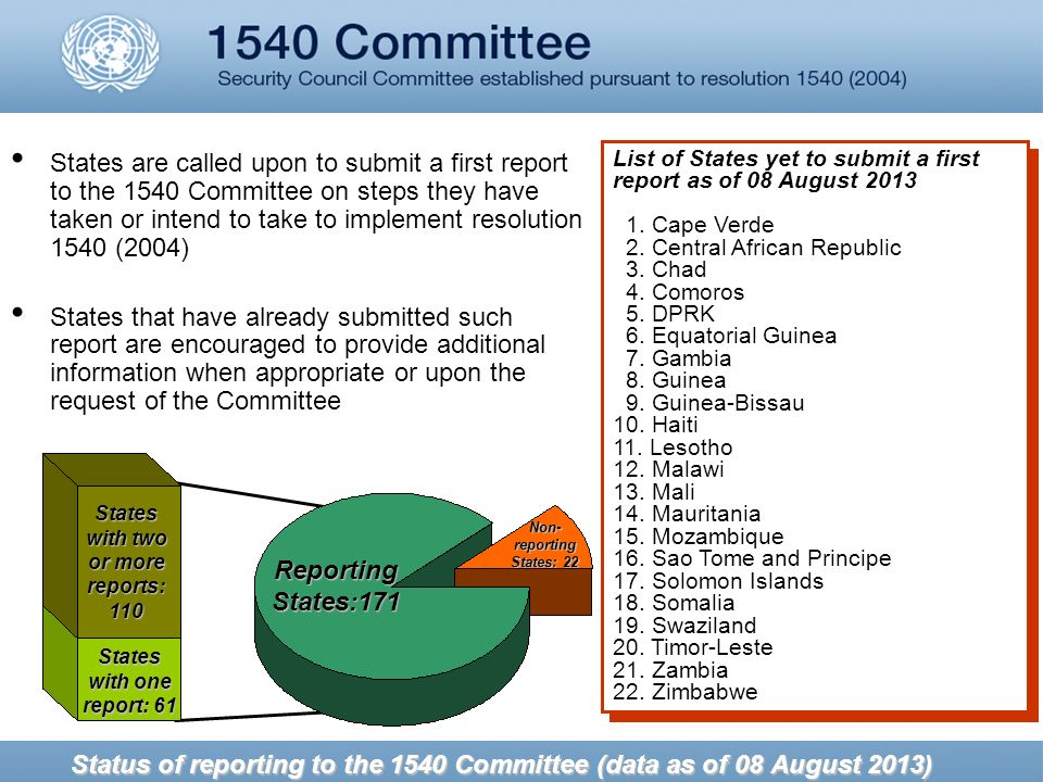 Status of reporting to the 1540 Committee (data as of 08 August 2013) States are called upon to submit a first report to the 1540 Committee on steps they have taken or intend to take to implement resolution 1540 (2004) States that have already submitted such report are encouraged to provide additional information when appropriate or upon the request of the Committee List of States yet to submit a first report as of 08 August