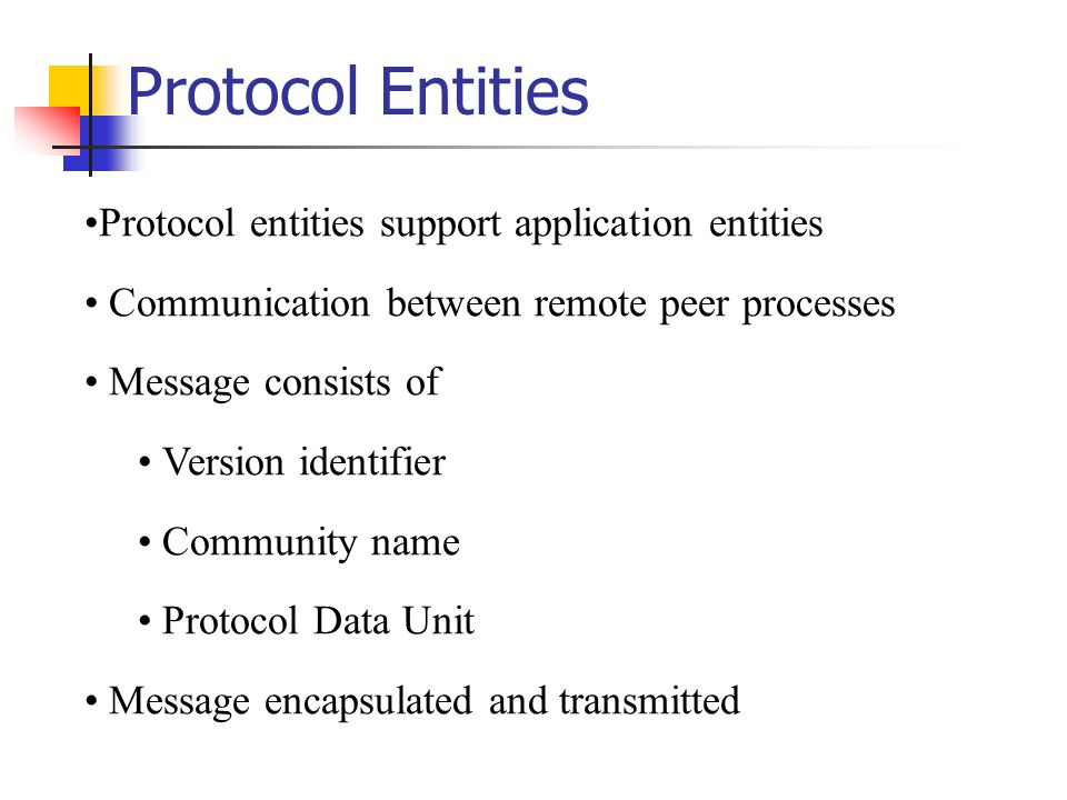 Protocol Entities Protocol entities support application entities Communication between remote peer processes Message consists of Version identifier Community name Protocol Data Unit Message encapsulated and transmitted