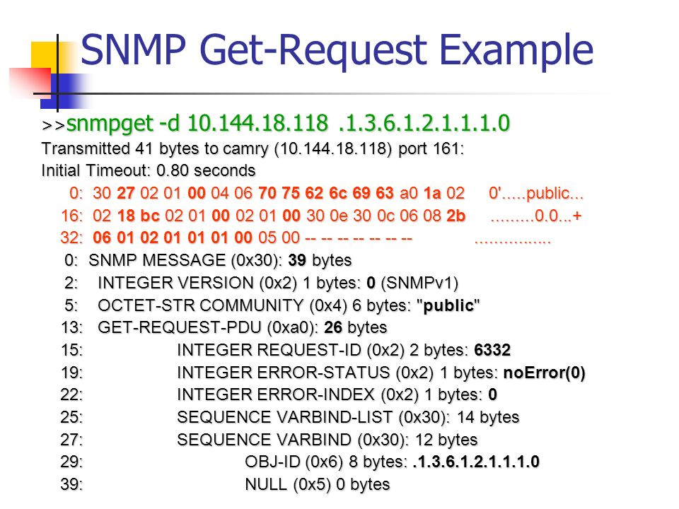 SNMP Get-Request Example >> snmpget -d 10.144.18.118.1.3.6.1.2.1.1.1.0 Transmitted 41 bytes to camry (10.144.18.118) port 161: Initial Timeout: 0.80 seconds 0: 30 27 02 01 00 04 06 70 75 62 6c 69 63 a0 1a 02 0 .....public...