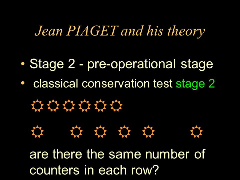 Jean PIAGET and his theory Stage 2 - pre-operational stage classical conservation test stage 2 are there the same number of counters in each row