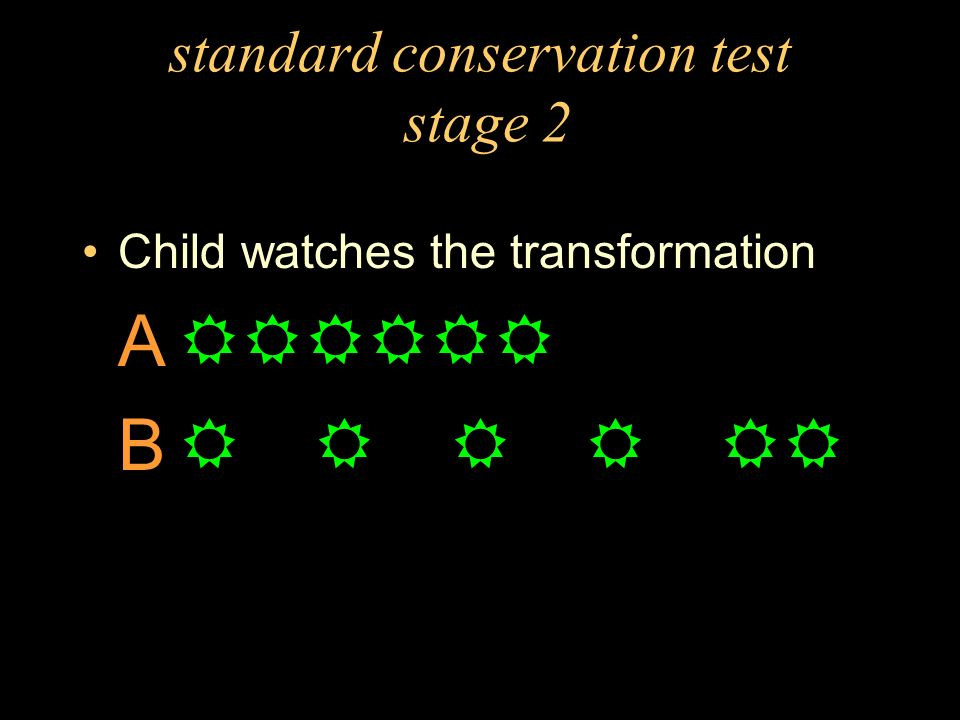standard conservation test stage 2 Child watches the transformation A B