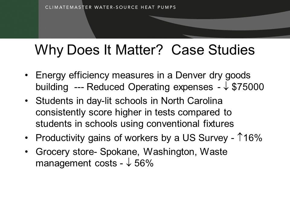 Why Does It Matter? Case Studies Energy efficiency measures in a Denver dry goods building --- Reduced Operating expenses - $75000 Students in day-lit