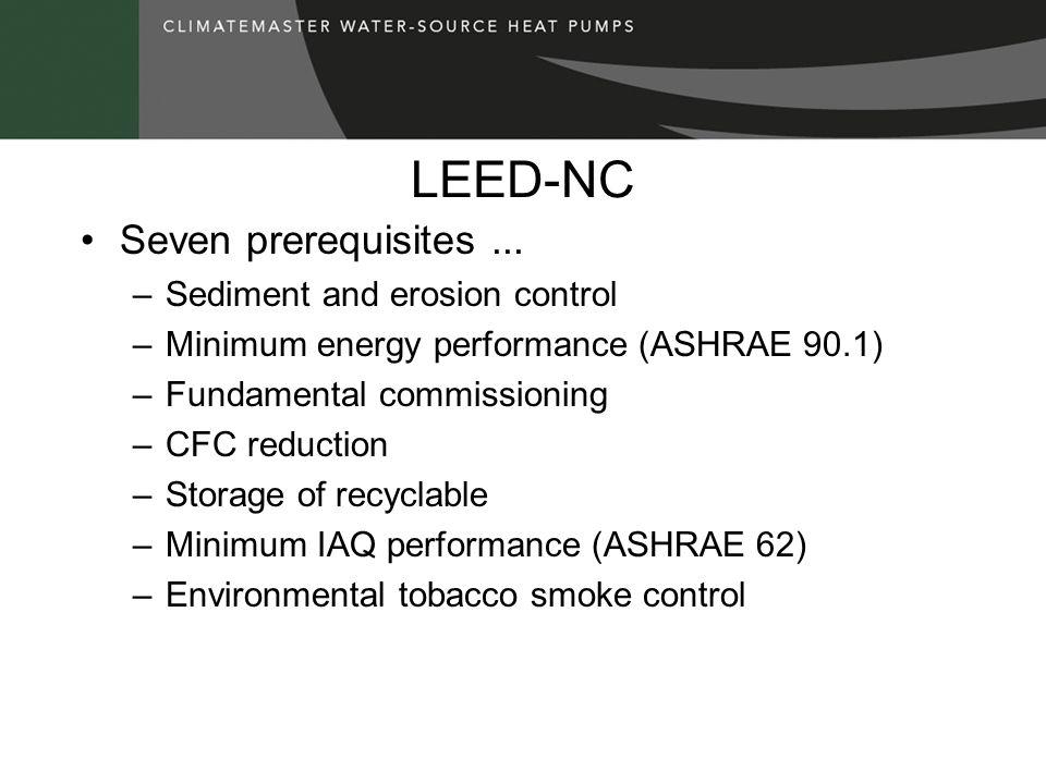 LEED-NC Seven prerequisites... –Sediment and erosion control –Minimum energy performance (ASHRAE 90.1) –Fundamental commissioning –CFC reduction –Stor