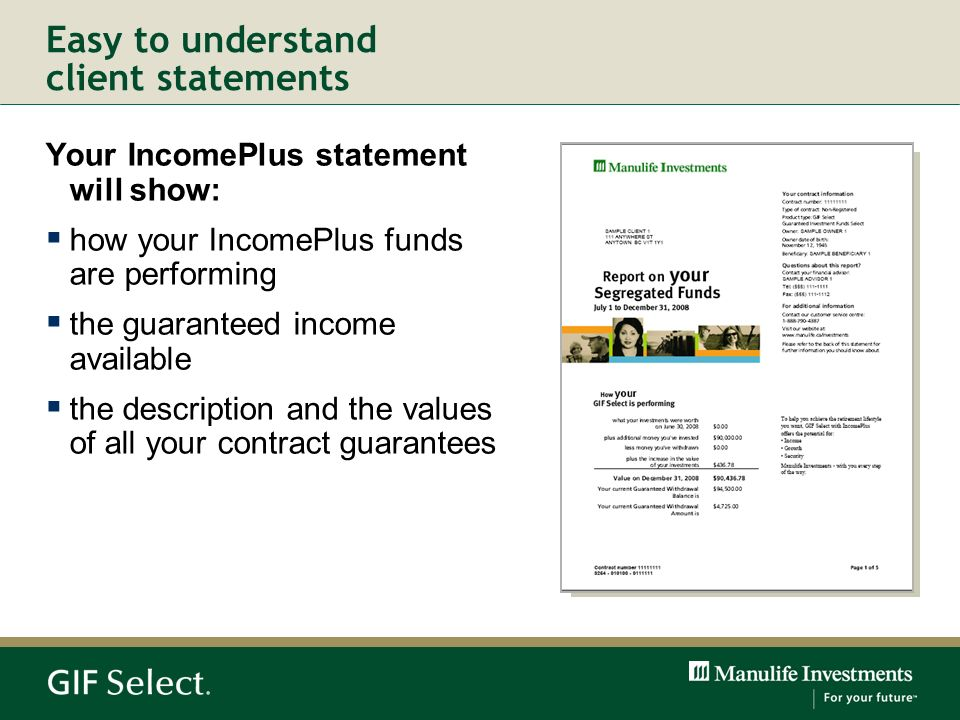 Your IncomePlus statement will show: how your IncomePlus funds are performing the guaranteed income available the description and the values of all yo