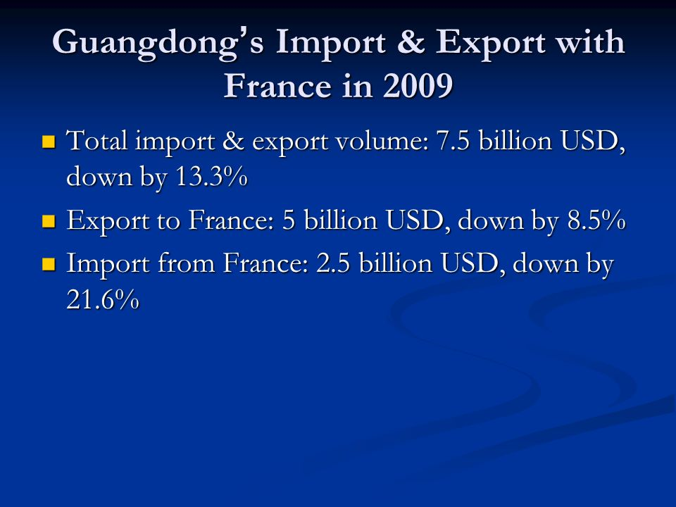 Guangdong s Import & Export with France in 2009 Total import & export volume: 7.5 billion USD, down by 13.3% Total import & export volume: 7.5 billion USD, down by 13.3% Export to France: 5 billion USD, down by 8.5% Export to France: 5 billion USD, down by 8.5% Import from France: 2.5 billion USD, down by 21.6% Import from France: 2.5 billion USD, down by 21.6%