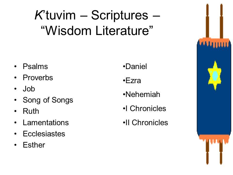 Ktuvim – Scriptures – Wisdom Literature Psalms Proverbs Job Song of Songs Ruth Lamentations Ecclesiastes Esther Daniel Ezra Nehemiah I Chronicles II C