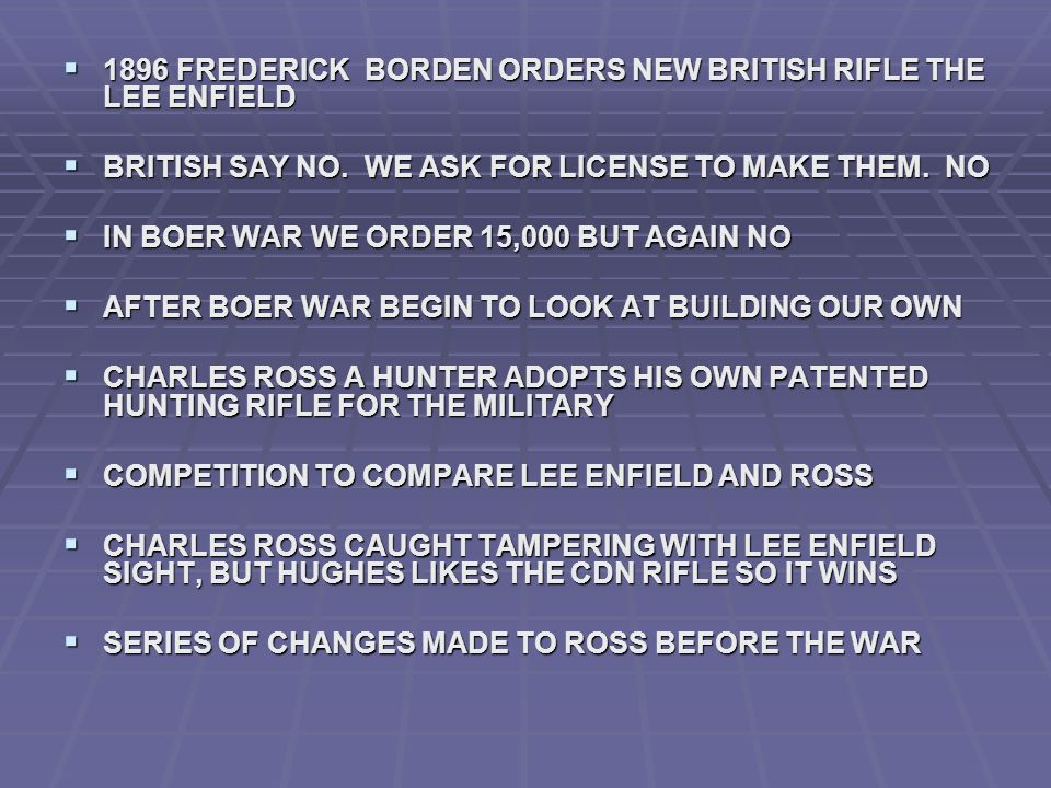 1896 FREDERICK BORDEN ORDERS NEW BRITISH RIFLE THE LEE ENFIELD 1896 FREDERICK BORDEN ORDERS NEW BRITISH RIFLE THE LEE ENFIELD BRITISH SAY NO.