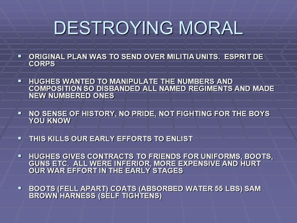 DESTROYING MORAL ORIGINAL PLAN WAS TO SEND OVER MILITIA UNITS.