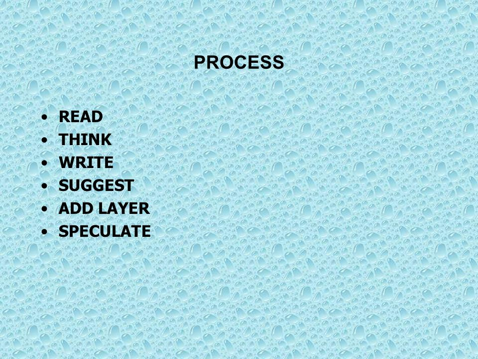 PROCESS READ THINK WRITE SUGGEST ADD LAYER SPECULATE