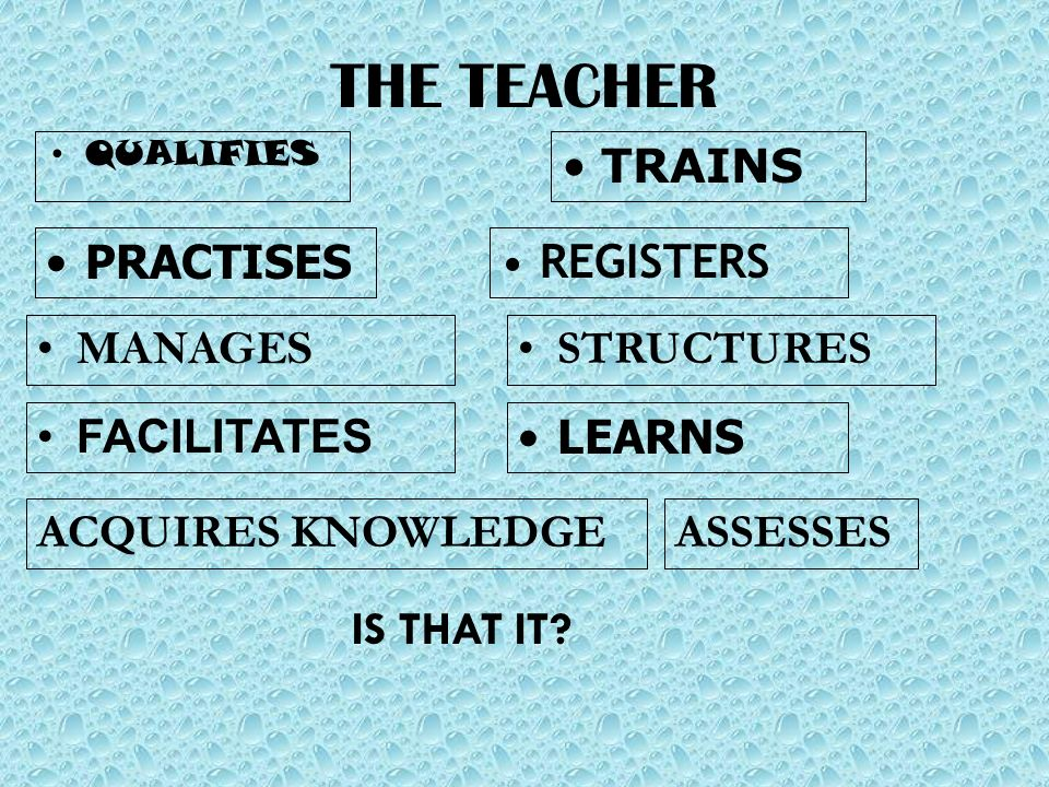 THE TEACHER QUALIFIES TRAINS PRACTISES REGISTERS STRUCTURES ACQUIRES KNOWLEDGE MANAGES FACILITATES LEARNS IS THAT IT? ASSESSES
