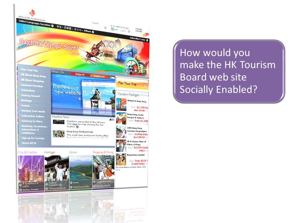 How would you make the HK Tourism Board web site Socially Enabled?