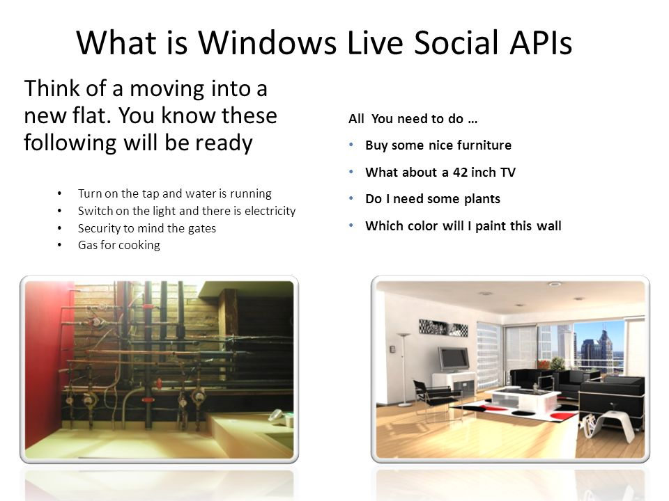 What is Windows Live Social APIs Think of a moving into a new flat.