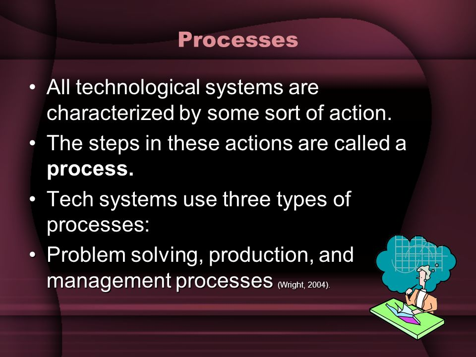 Processes All technological systems are characterized by some sort of action. process.The steps in these actions are called a process. Tech systems us