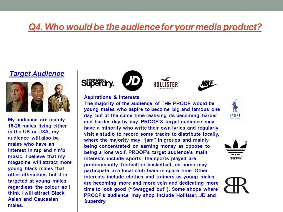 Q4. Who would be the audience for your media product? My audience are mainly 16-25 males living either in the UK or USA, my audience will also be male