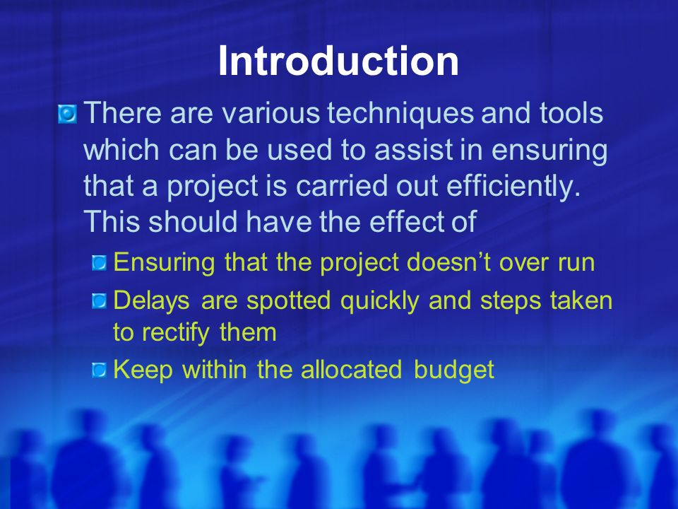 Introduction There are various techniques and tools which can be used to assist in ensuring that a project is carried out efficiently.