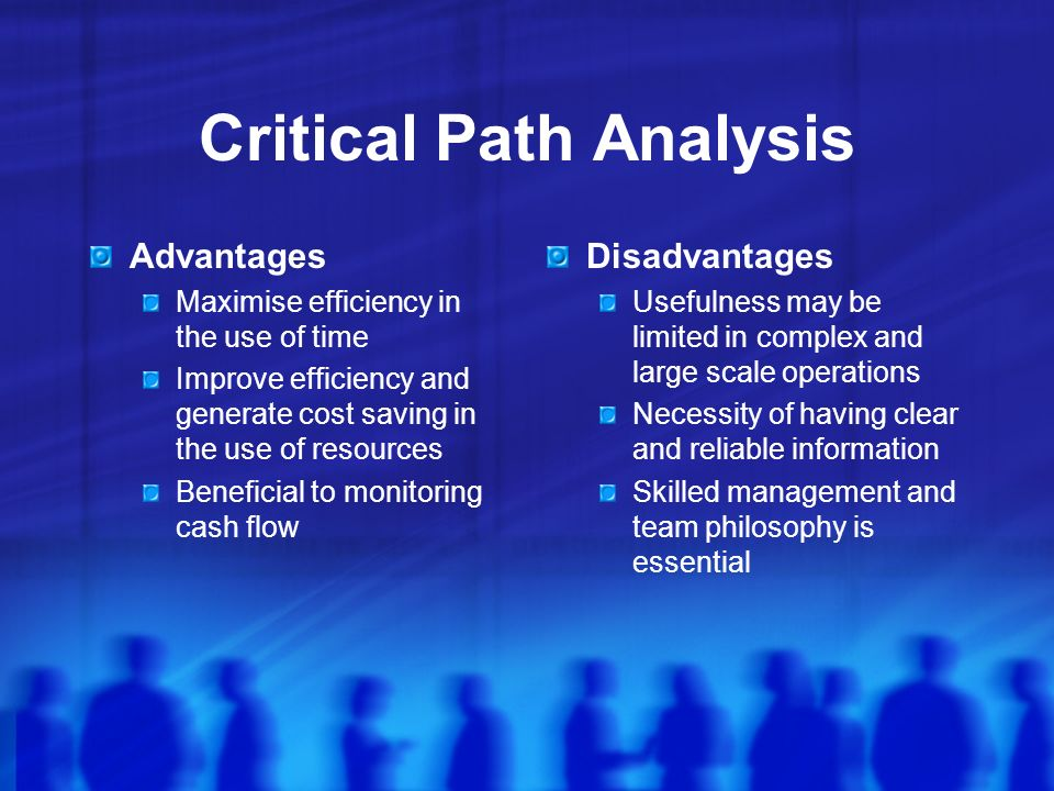 Critical Path Analysis Advantages Maximise efficiency in the use of time Improve efficiency and generate cost saving in the use of resources Beneficial to monitoring cash flow Disadvantages Usefulness may be limited in complex and large scale operations Necessity of having clear and reliable information Skilled management and team philosophy is essential