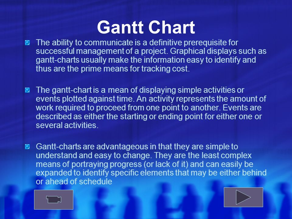 Gantt Chart The ability to communicate is a definitive prerequisite for successful management of a project.
