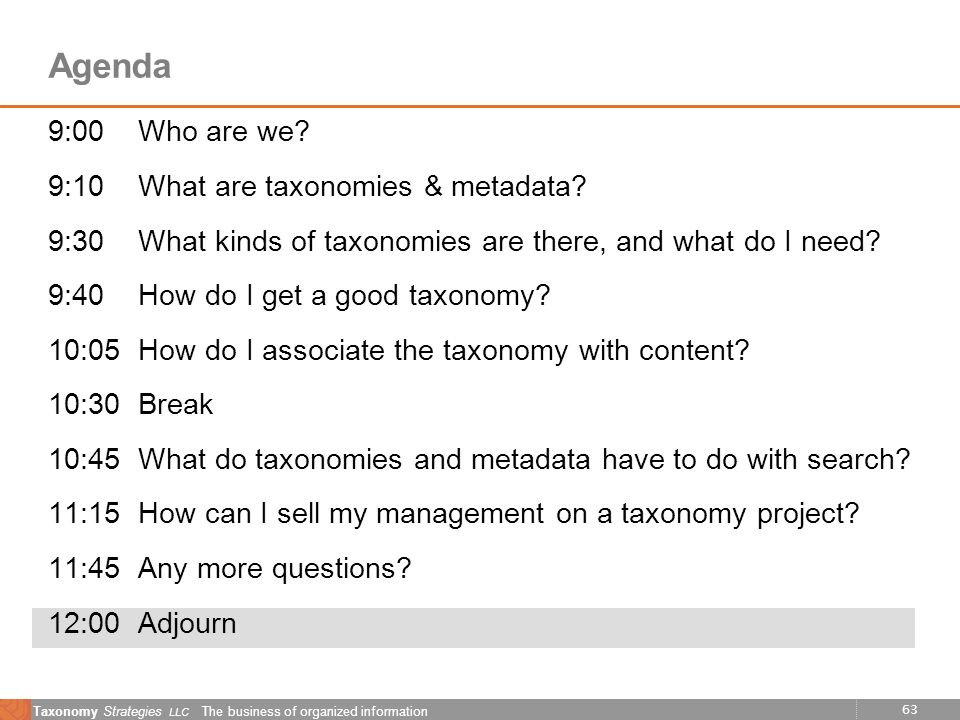 63 Taxonomy Strategies LLC The business of organized information Agenda 9:00Who are we? 9:10What are taxonomies & metadata? 9:30What kinds of taxonomi
