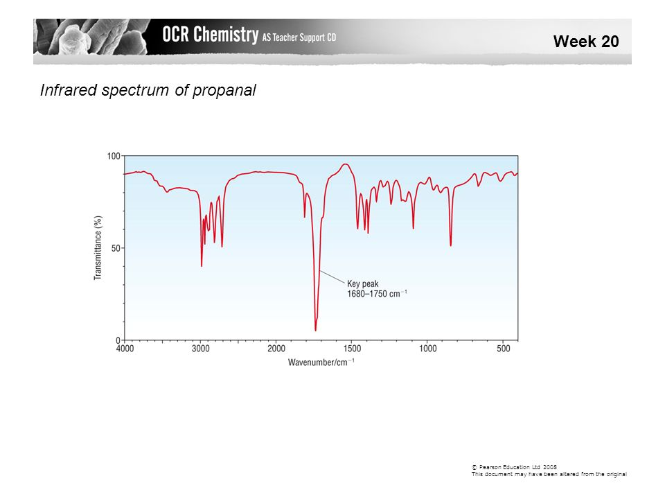Infrared spectrum of propanal Week 20 © Pearson Education Ltd 2008 This document may have been altered from the original