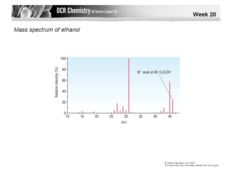 Mass spectrum of ethanol Week 20 © Pearson Education Ltd 2008 This document may have been altered from the original