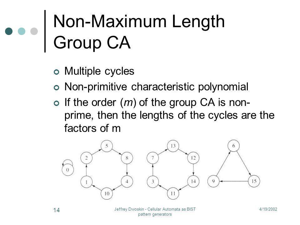 4/19/2002Jeffrey Dwoskin - Cellular Automata as BIST pattern generators 14 Non-Maximum Length Group CA Multiple cycles Non-primitive characteristic po